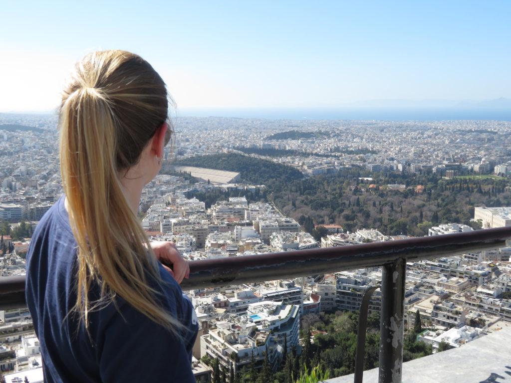 Lycabettus, uitzicht op Athene en het Olympisch Stadion